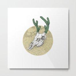 Deer Cactus Metal Print