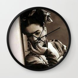 The Girl in the Blue House from Casa Azul Smoking black and white photographic print Wall Clock