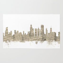 Chicago Illinois Skyline Sheet Music Cityscape Rug