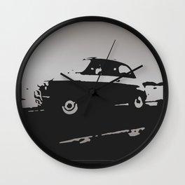 Fiat 500 classic, Gray on Black Wall Clock