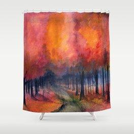 Nighttime Autumn Landscape Nature Art Shower Curtain
