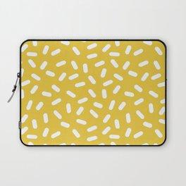 Somethin' Somethin' - yellow bright happy sprinkles pills dash pattern rad minimal prints Laptop Sleeve
