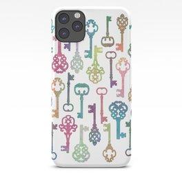Rainbow Keys on White iPhone Case