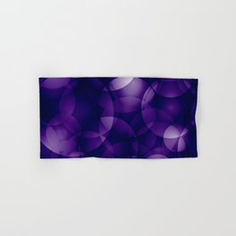 Dark intersecting blueberry translucent circles in bright colors with a mauve glow. Hand & Bath Towel