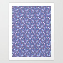 Tea Spoons Vector Cutlery Pattern Blue Art Print