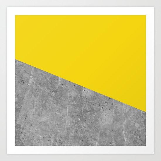 Geometry 101 Vivid Yellow Art Print