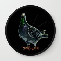 pigeon Wall Clocks featuring Pigeon by Sarah Jane Rozman
