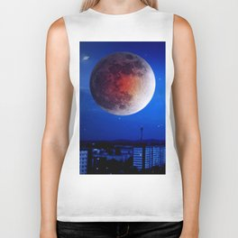 Small moon over the city. Biker Tank