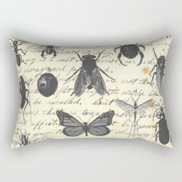 Insect Study on antique journal paper Rectangular Pillow