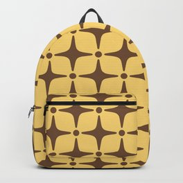 Mid Century Modern Star Pattern Brown and Yellow Backpack