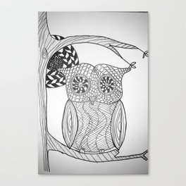 TangleArt Owl by  Arlette Canvas Print