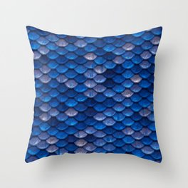 Blue Penny Scales Throw Pillow