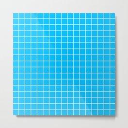 Capri - turquoise color - White Lines Grid Pattern Metal Print