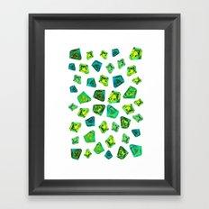 Green beautiful hand drawn gems. Framed Art Print