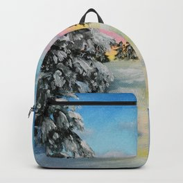 Winter Sunset Snow Scene Painting Backpack