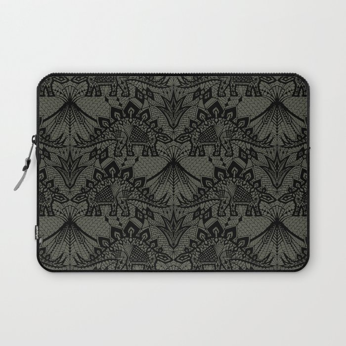 Stegosaurus Lace - Black / Grey Laptop Sleeve