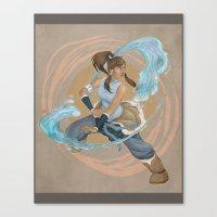 legend of korra Canvas Prints featuring Korra by Vaahlkult