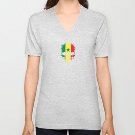 Flag of Senegal on a Chaotic Splatter Skull Unisex V-Neck