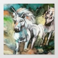 unicorns Canvas Prints featuring Unicorns by osile ignacio