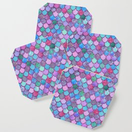 Colorful Pink Glitter Mermaid Scales Coaster