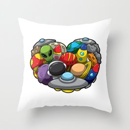 Heart Full Of Galactic Stuff - Space Lover Throw Pillow