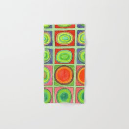 Green Grid filled with Circles and intense Colors Hand & Bath Towel