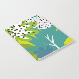White strawberries and green leaves Notebook