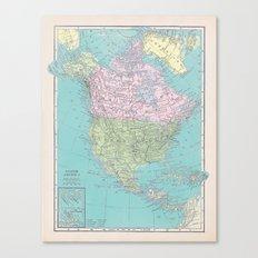 Vintage North America Map Canvas Print