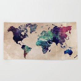Cold World Map #map #worldmap Beach Towel
