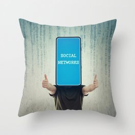 Social networks addiction Throw Pillow
