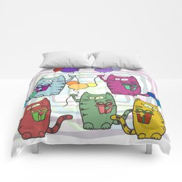 Funny colorful cats with gifts and inflatable balls in their paws Comforters