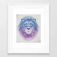 lion Framed Art Prints featuring Face of a Lion by Rachel Caldwell