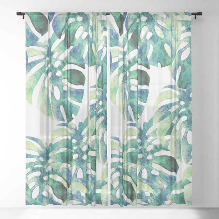 Monstera Pattern Green Sheer Curtain