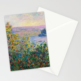 Claude Monet - Flower Beds at Vetheuil Stationery Cards