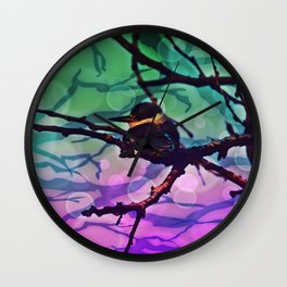 African Bird and Branches Teal And Pink Wall Clock