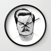 ron swanson Wall Clocks featuring Ron Swanson by 13 Styx