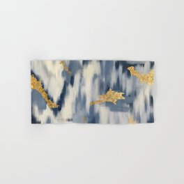 Blue and Gold Ikat Pattern Abstract Hand & Bath Towel