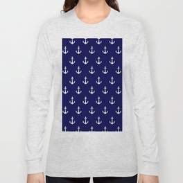Maritime Nautical Blue and White Anchor Pattern Long Sleeve T-shirt