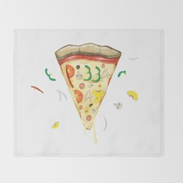 Pizza Day Slice with All the Toppings Throw Blanket