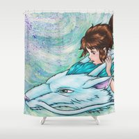 spirited away Shower Curtains featuring Spirited Away by Kimberly Castello