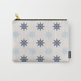 Nautical Blue Ships Wheel Pattern Carry-All Pouch