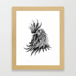 Ornately Decorated Rooster Framed Art Print