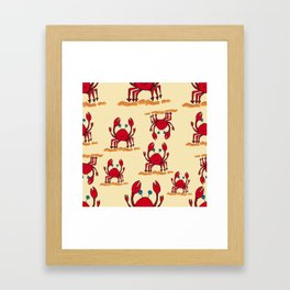 Crabs in yellow sand by Jana Sigüenza Framed Art Print