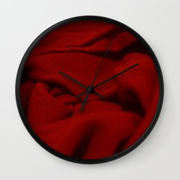 Red Velvet Dune Textile Folds Concept Photography Wall Clock