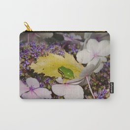 GREEN TREE FROG IN LACECAP HYDRANGEA Carry-All Pouch