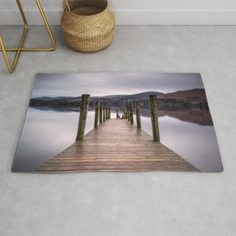 Lake View with Wooden Pier Rug