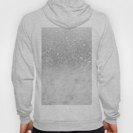 White Marble Silver Ombre Glitter Glam #1 #shiny #gem #decor #art #society6 Hoody