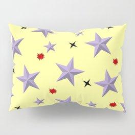 Yellow background lilac stars Pillow Sham