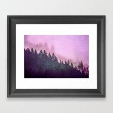 Fog Forest - Pink and Green Misty Mountain Pass Framed Art Print