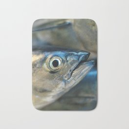 Big eye, tuna, fish, still life, photo, fine art, print, nature, sea, fishing, detail, blue Bath Mat